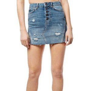 Free People We The Free Button Fly Jean Skirt
